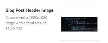 CMS Image size description showing focal point area guidance